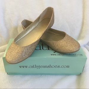 NEW Cathy Jean Gold Sparkle Flats